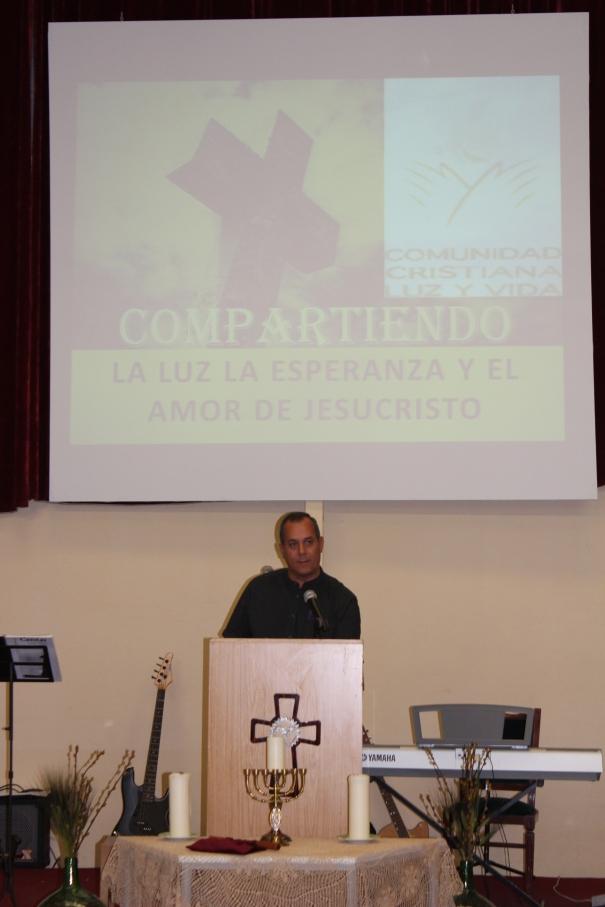 Pastor Carmelo speaking